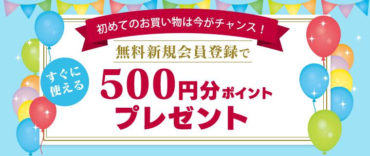 無料新規会員登録で500円分ポイントプレゼント
